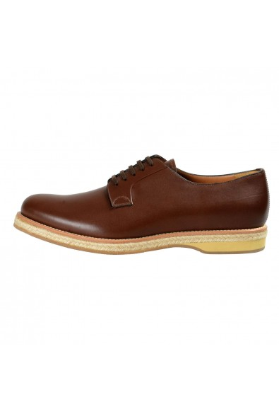 Prada Men's Deep Brown Leather Casual Oxfords Shoes: Picture 2