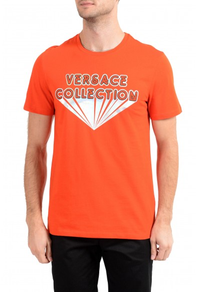 Versace Collection Men's Bright Orange Graphic Crewneck T-Shirt
