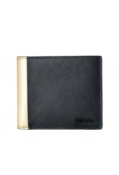 Prada Men's Black & Gold Textured Leather Bifold Wallet