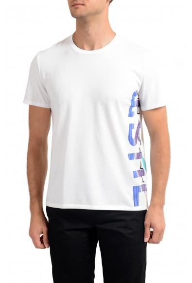 Just Cavalli Men's White Graphic Print Crewneck T-Shirt
