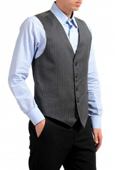 Dolce & Gabbana Men's 100% Wool Gray Striped Button Up Dress Vest : Picture 2