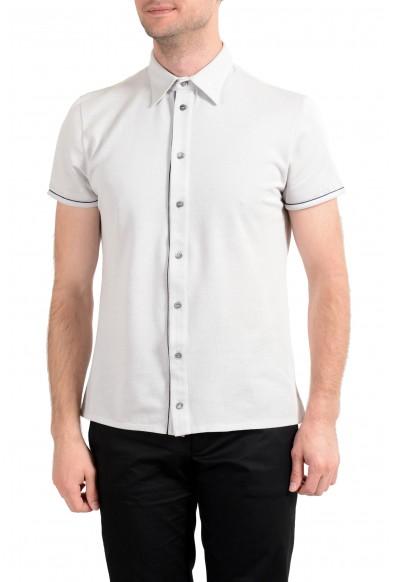 Malo Men's Gray Silk Short Sleeve Casual Shirt