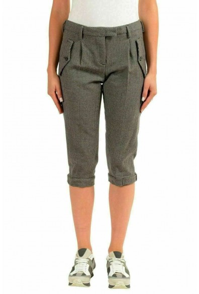 Moncler Women's 100% Wool Plaid Cropped Capris Pants