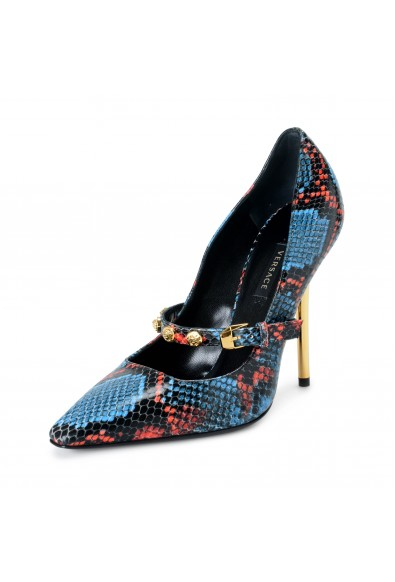 Versace Women's DSR934P Multi-Color Snake Skin High Heel Pumps Shoes
