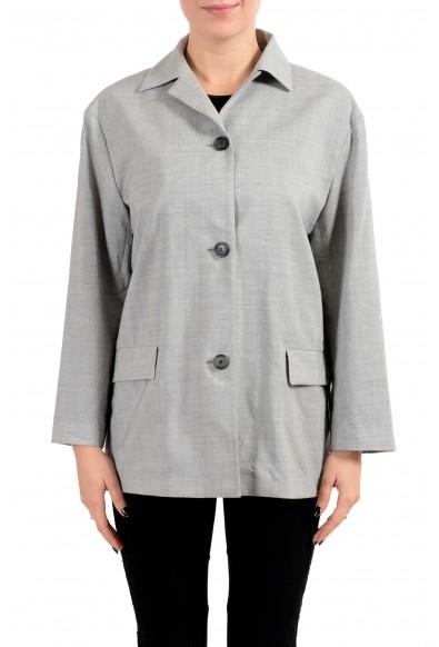 "Hugo Boss ""Jalysee"" Women's Wool Gray Three Button Blazer"