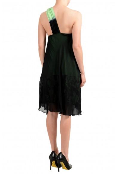GF Ferre Women's Black & Green Silk One Shoulder Dress: Picture 2