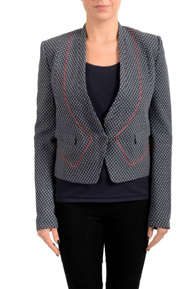 Just Cavalli Women's Wool Gray Floral Print One Button Blazer