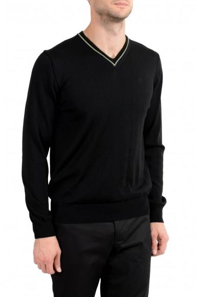 Roberto Cavalli Men's 100% Wool Black V-Neck Sweater: Picture 2