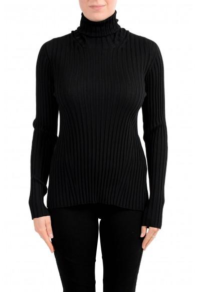 Versace Women's Black 100% Wool Stretch Turtleneck Pullover Sweater