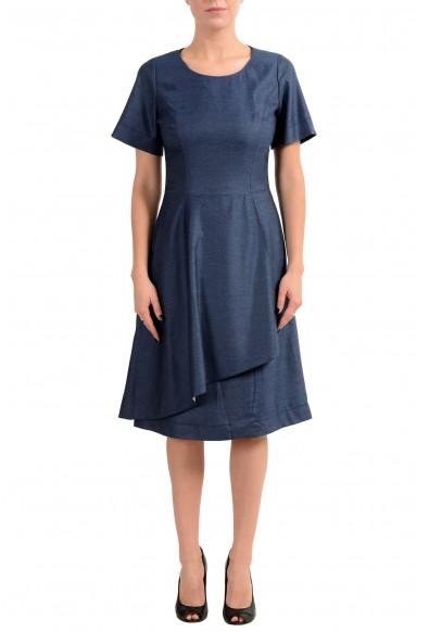 "Hugo Boss ""Kedrila"" Women's Blue Short Sleeve Sheath Dress"
