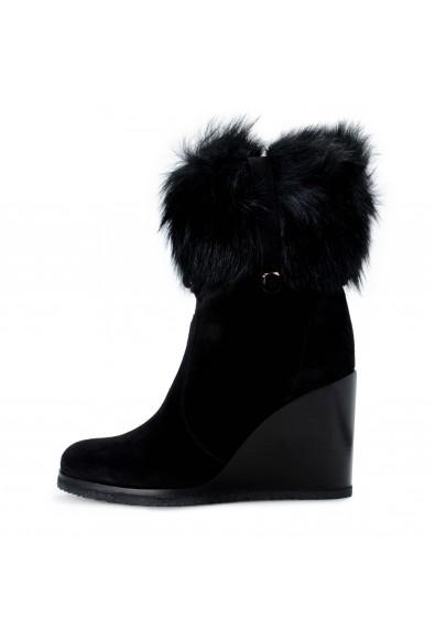 Salvatore Ferragamo Women's SONDRIO Suede Fur Wedge Boots Shoes: Picture 2