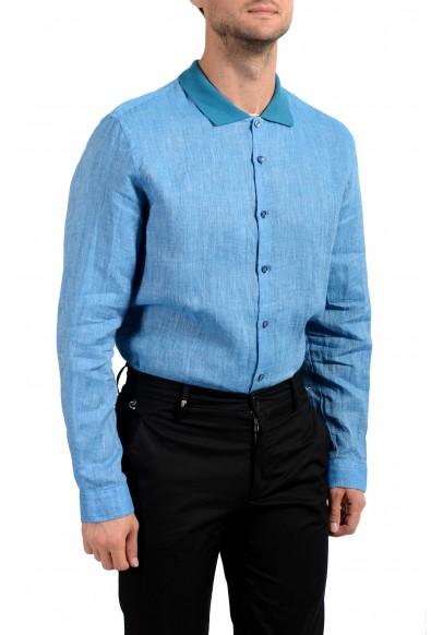Malo Men's 100% Linen Blue Long Sleeve Casual Shirt: Picture 2