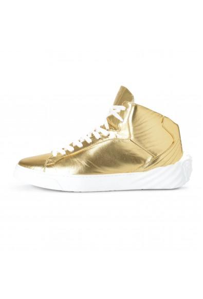 Versace Men's Gold Leather Medusa Hi Top Fashion Sneakers Shoes: Picture 2