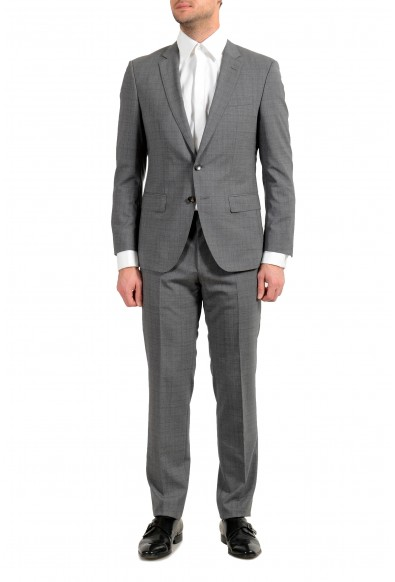 "Hugo Boss ""Huge6/Genius5"" Men's 100% Wool Plaid Slim Gray Two Button Suit"