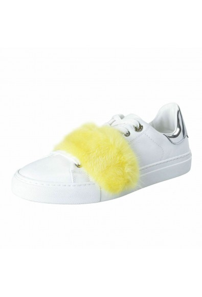 Moncler Women's LENNY Mink Fur Trimmed Leather Fashion Sneakers Shoes