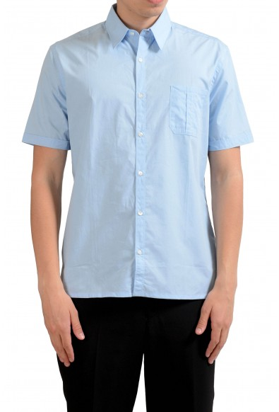 Fendi Men's Light Blue Short Sleeve Dress Shirt