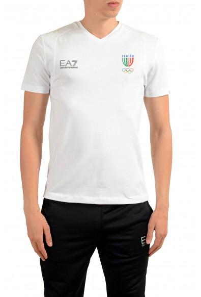 """Emporio Armani EA7 """"Italia Team"""" Men's White V-Neck T-Shirt"""
