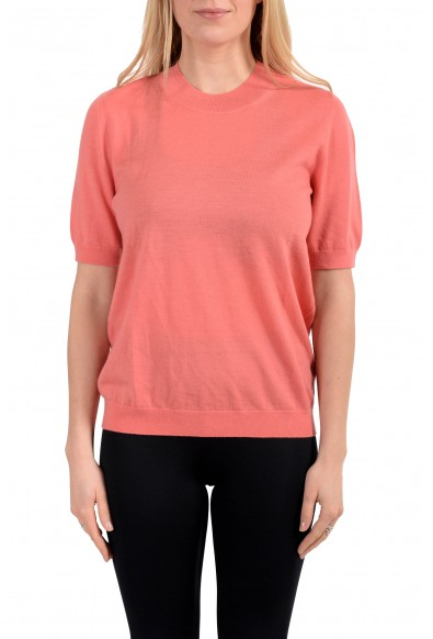 Burberry Women's Salmon Pink 100% Wool Knitted Sweater Blouse Top