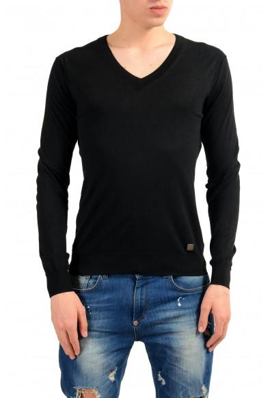 Versace Collection Men's Silk V-Neck Black Sweater