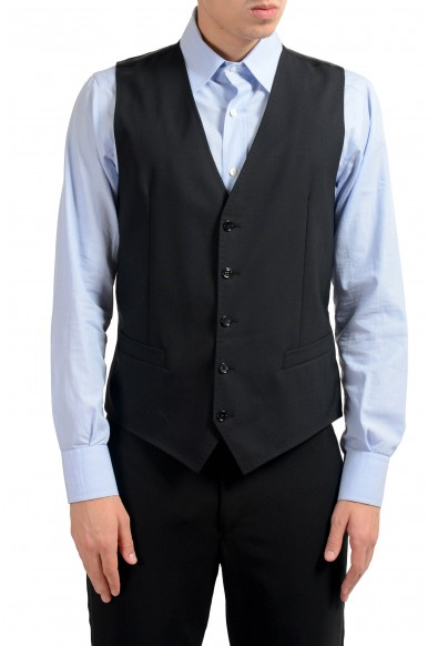 Dolce & Gabbana Men's Black Wool Button Up Dress Vest