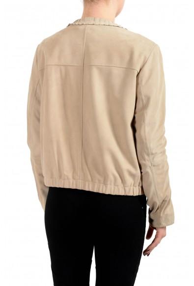 "Hugo Boss Women's ""Sakrone"" Beige Suede Leather Zip Up Jacket: Picture 2"