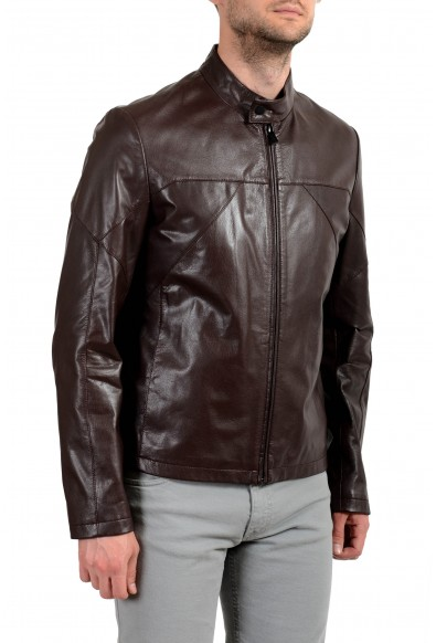 """Hugo Boss """"Lutger"""" Men's 100% Leather Dark Brown Full Zip Jacket: Picture 2"""