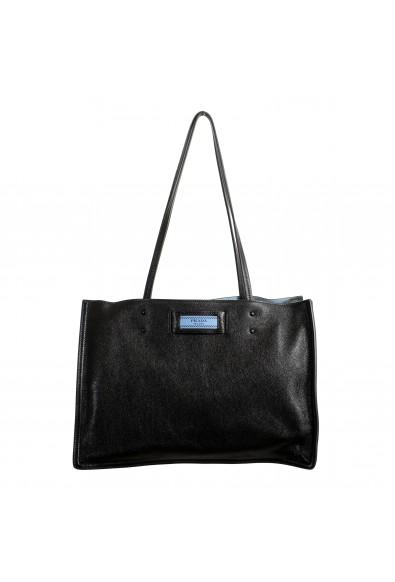 Prada Women's 1BG122 Black 100% Leather Shopping Tote Handbag Shoulder Bag