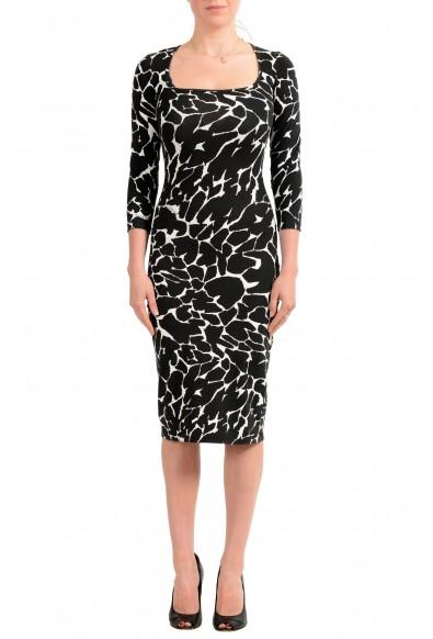 Just Cavalli Women's Black & White Bodycon Stretch Dress