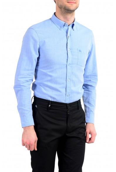 Burberry Men's Blue Linen Long Sleeve Button Down Shirt : Picture 2