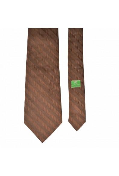 Etro 100% Silk Brown Striped Neckwear Men's Tie: Picture 2