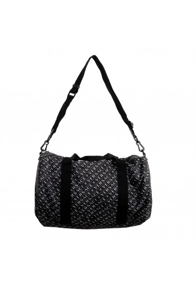 Versace Unisex Black & White Logo Duffle Handbag Bag