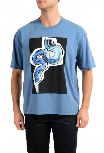 Just Cavalli Men's Blue Graphic Print Crewneck T-Shirt