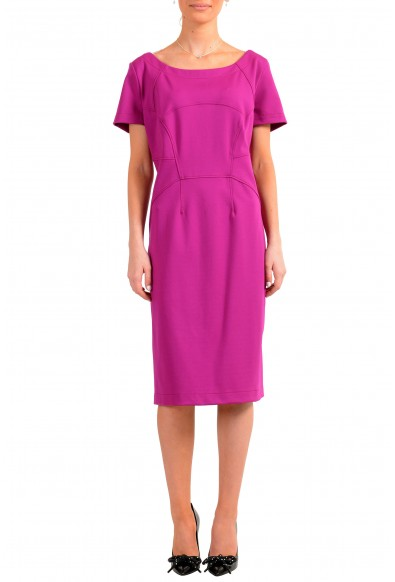 "Hugo Boss Women's ""Katise"" Purple Short Sleeve Pencil Dress"