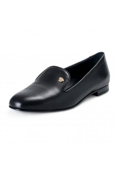 Versace Women's Black Leather Ballets Flat Shoes