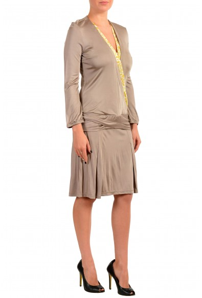 Just Cavalli Women's Brown Long Sleeve Deep V-Neck Shift Dress : Picture 2
