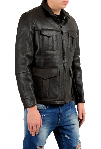 Brunello Cucinelli Men's 100% Leather Shearling Full Zip Jacket: Picture 2