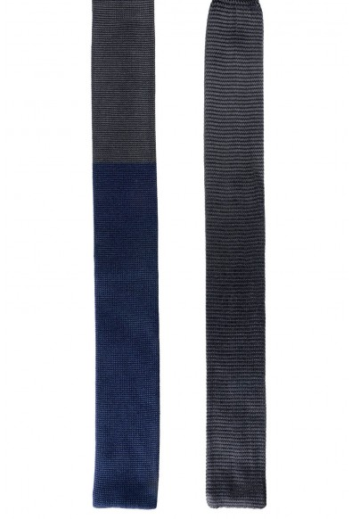 Hugo Boss Men's Two-tone 100% Silk Knitted Square End Tie: Picture 2