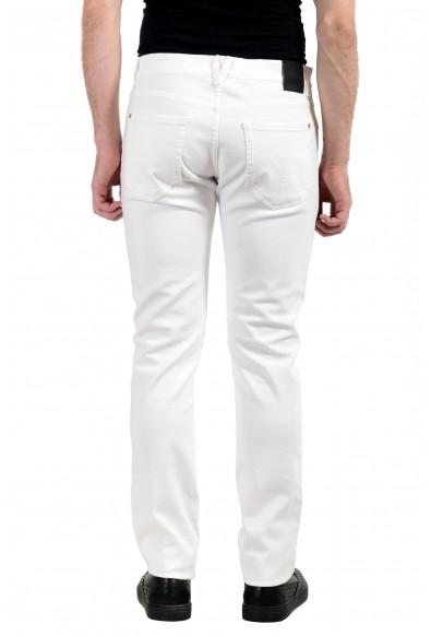 Versace Men's White Stretch Beads Decorated Taylor Fit Slim Jeans: Picture 2