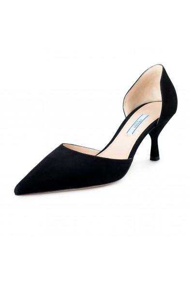 Prada Women's IT240L Black Suede Leather Pumps Shoes