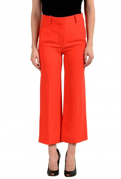 Versace Women's Bright Red 100% Silk Flat Front Pants