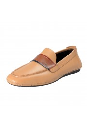 "Salvatore Ferragamo Men's ""FLORIDA"" Light Brown Leather Loafers Slip On Shoes"