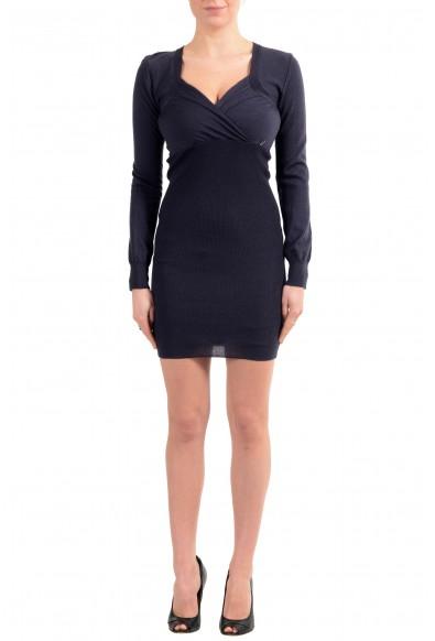 John Galliano Women's Purple 100% Wool Knitted Bodycon Dress