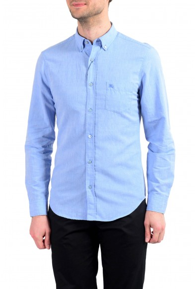 Burberry Men's Blue Linen Long Sleeve Button Down Shirt