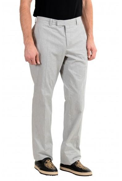 John Varvatos Men's Linen Gray Striped Casual Pants : Picture 2