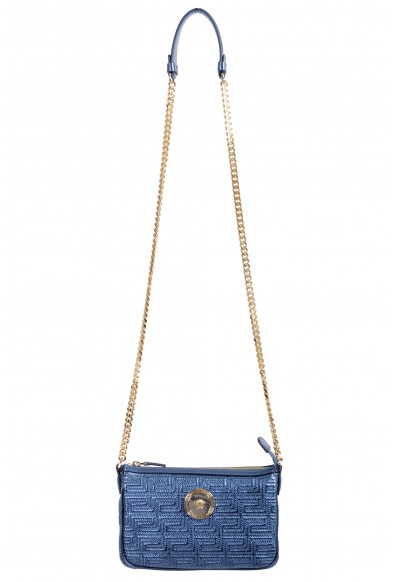 Versace Women's Quilted Leather Sparkle Blue Chain Strap Crossbody Shoulder Bag