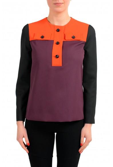 Viktor & Rolf Multi-Color Henley 3/4 Sleeve Women's Blouse