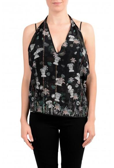 Versus By Versace Women's 100% Silk Multi-Color Blouse Halter Top