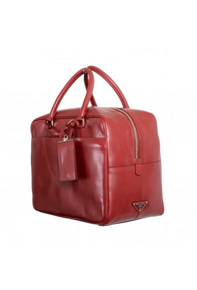 Prada Women's Cherry Red Leather Travel Satchel Handbag Bag