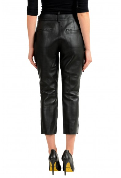 Dsquared2 100% Leather Black Women's Cropped Casual Pants: Picture 2