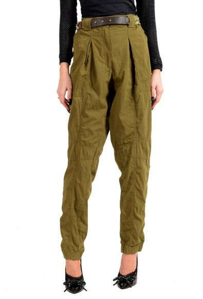 Just Cavalli Women's Olive Green Belted Casual Pants